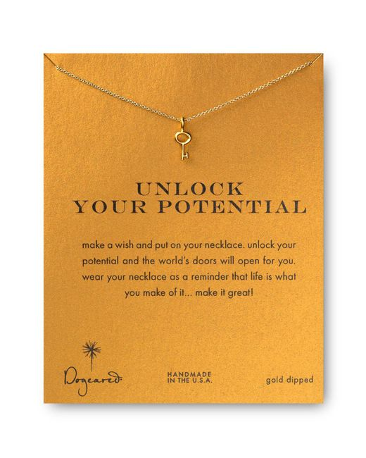 Dogeared | Metallic Gold Plated Graduation Key Reminder Necklace | Lyst