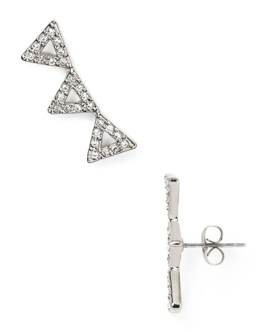 Rebecca Minkoff - Metallic Triangle Ear Climbers - Lyst