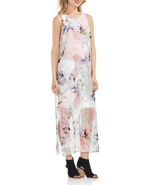 Vince Camuto - White Diffused Blooms Illusion Maxi Dress - Lyst