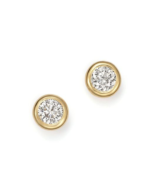 KC Designs - Metallic 14k Yellow Gold Diamond Bezel Stud Earrings - Lyst