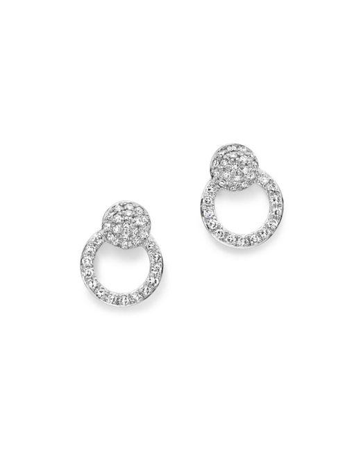 KC Designs - 14k White Gold Diamond Mini Circle Earrings - Lyst