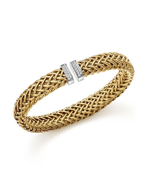 Roberto Coin - Metallic 18k Yellow Gold Primavera Woven Bracelet With Diamonds - Lyst