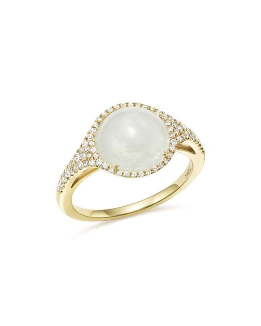 Meira T - Metallic 14k Yellow Gold Rainbow Moonstone And Diamond Ring - Lyst