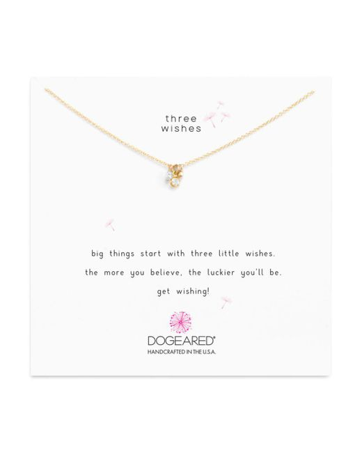 """Dogeared - Metallic Dogeaded Three Wishes Cluster Necklace, 16"""" - Lyst"""