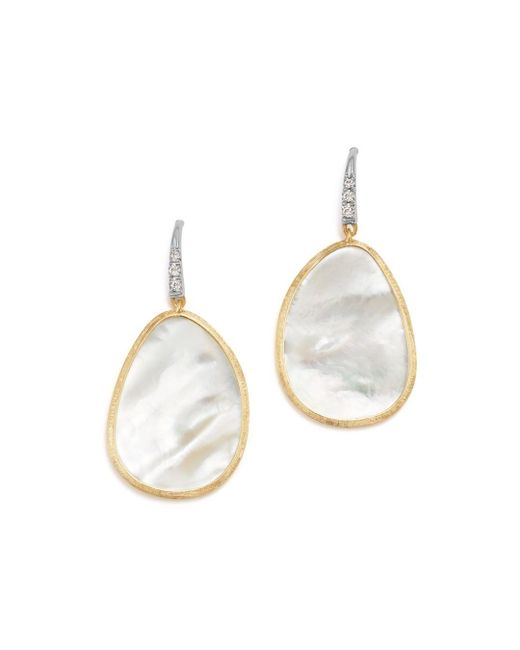Marco Bicego - 18k White & Yellow Gold Lunaria Mother - Of - Pearl & Diamond Earrings - Lyst