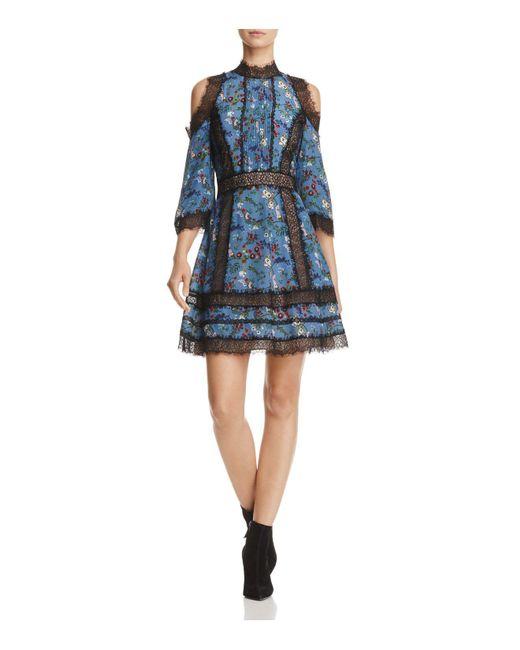 Alice + Olivia | Blue Alice + Olivia Gatz Cold-shoulder Dress | Lyst