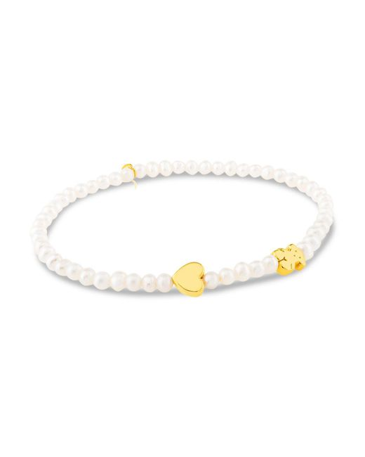 Tous - Metallic Cultured Freshwater Pearl Bear & Heart Charm Stretch Bracelet - Lyst