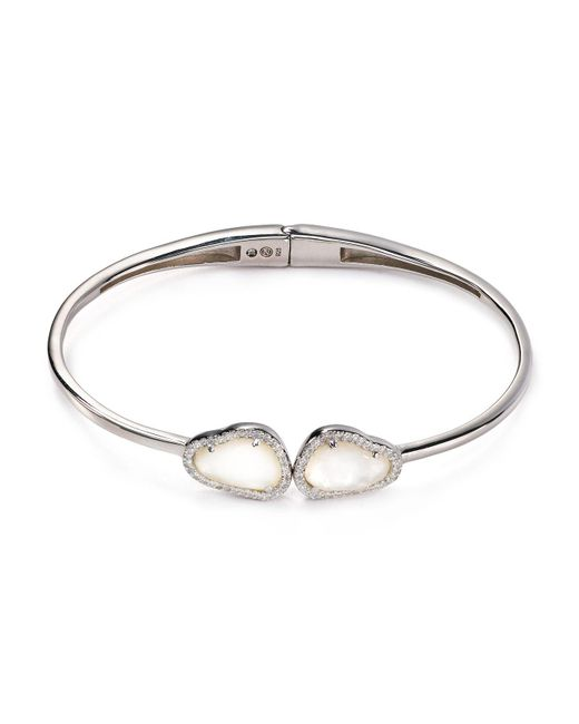 Nadri | Metallic Sterling Silver & Mother Of Pearl Two-stone Hinged Bangle | Lyst