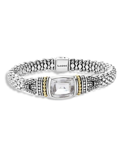 Lagos - Metallic 18k Gold And Sterling Silver Caviar Color Bracelet With White Topaz - Lyst