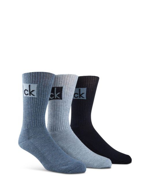 CALVIN KLEIN 205W39NYC - Blue Cushioned Athleasure Socks - Pack Of 3 for Men - Lyst