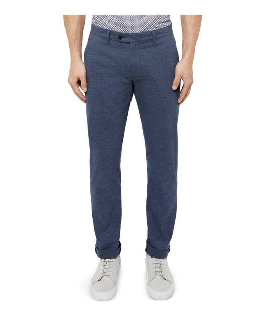 Ted Baker | Blue Slim Fit Textured Trousers for Men | Lyst