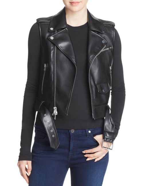 Theory - Black Faux-leather Moto Vest - Lyst