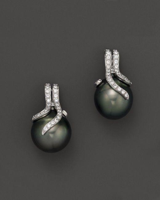 Tara Pearls | Black 14k White Gold, Diamond And Tahitian Cultured Pearl Drop Earrings, 12mm | Lyst