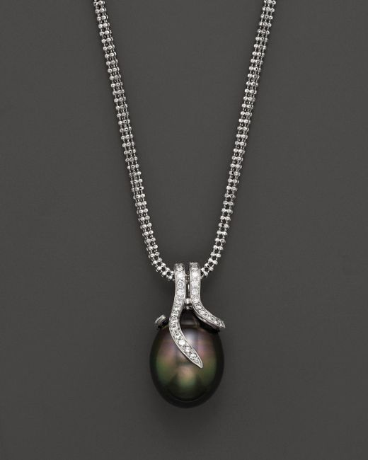 Tara Pearls | Metallic 14k White Gold, Diamond And Tahitian Pearl Necklace, 18"