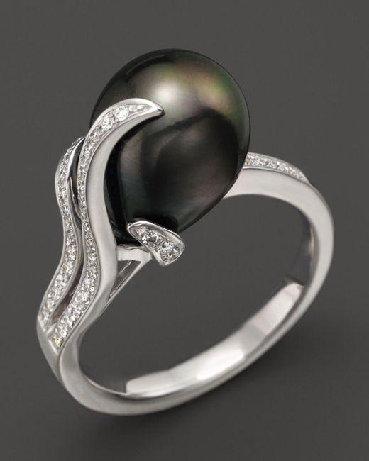 Tara Pearls   Black 14k White Gold, Diamond And Tahitian Cultured Pearl Ring, 10mm   Lyst