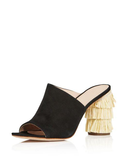 Pour La Victoire - Black Women's Hettie Nubuck Leather & Raffia High-heel Slide Sandals - Lyst