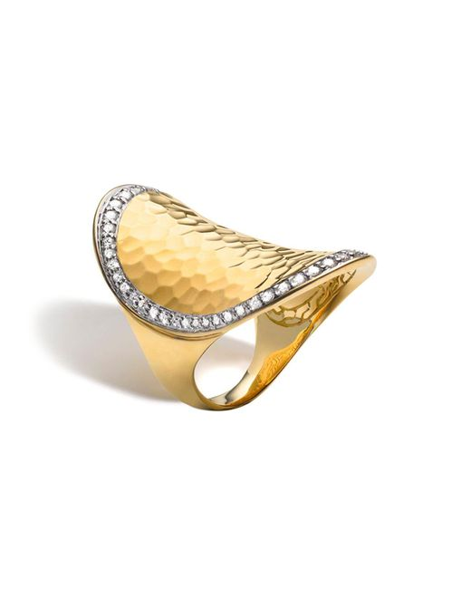 John Hardy | Metallic Palu 18k Gold & Diamond Pavé Oval Saddle Ring | Lyst