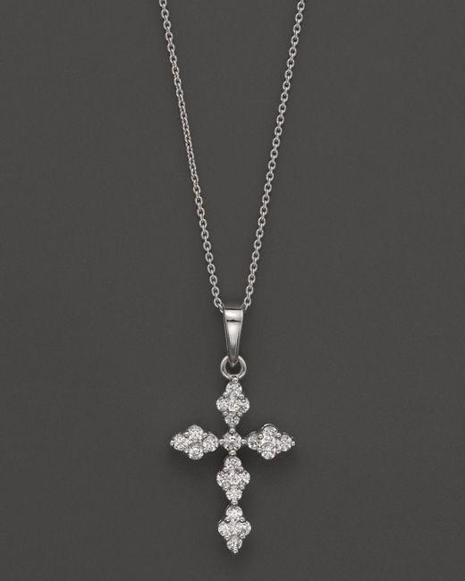 "Bloomingdale's - Metallic Diamond Cross Pendant Necklace In 14k White Gold, 0.25 Ct. T.w., 17.5"" - Lyst"