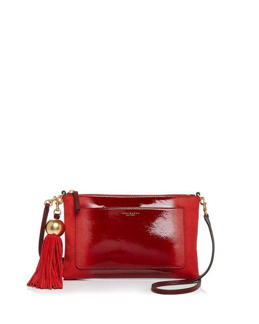 Tory Burch | Multicolor Ombré Tassel Patent Leather & Suede Crossbody | Lyst