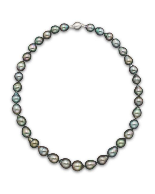 """Bloomingdale's - Metallic Natural Color Tahitian Pearl Strand Necklace In 14k White Gold, 18"""" - Lyst"""