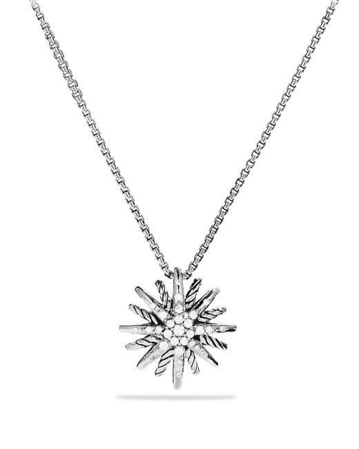 David Yurman - Metallic 'starburst' Small Pendant With Diamonds On Chain - Lyst