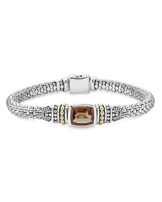 Lagos - Metallic 18k Gold And Sterling Silver Caviar Color Bracelet With Smoky Quartz - Lyst