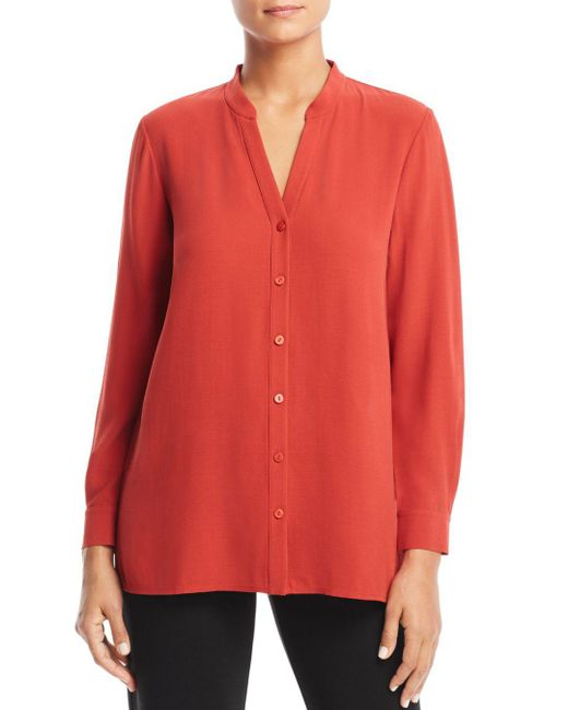 Eileen Fisher - Red V-neck Shirt - Lyst