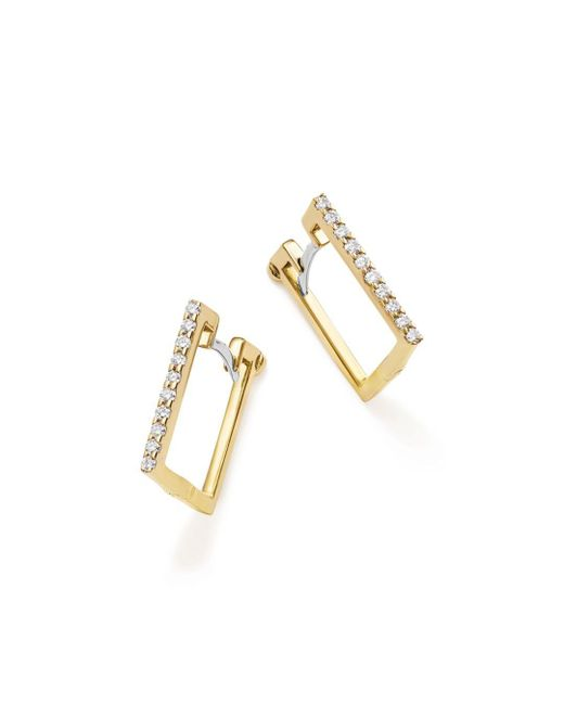 Roberto Coin - Metallic 18k Yellow Gold Diamond Square Hoop Earrings - Lyst