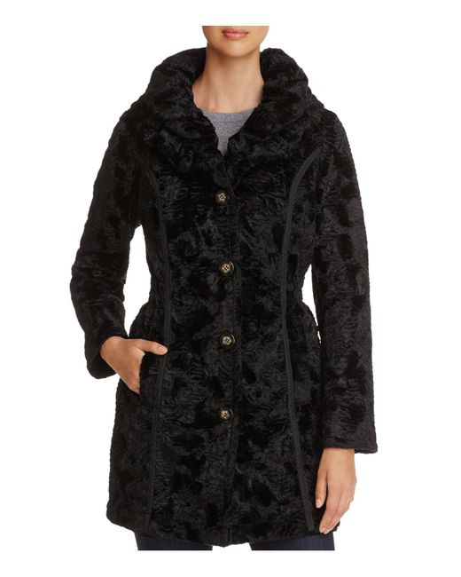 Laundry by Shelli Segal | Black Reversible Faux Shearling & Puffer Coat | Lyst