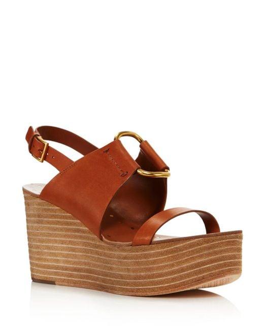 26e121b2f Tory Burch - Brown Women's Ravello Platform Sandals - Lyst ...