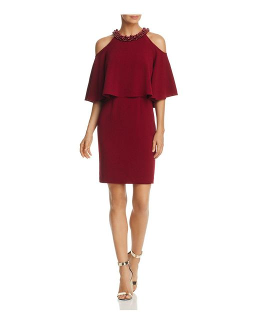 Adrianna Papell | Red Embellished Cold-shoulder Dress | Lyst