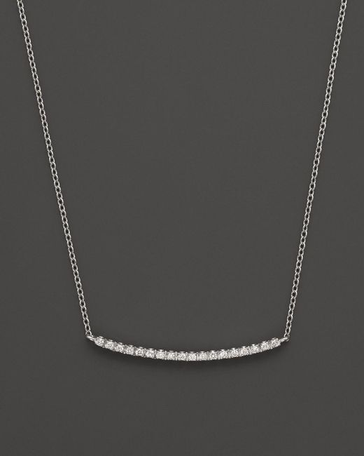 Meira T | 14k White Gold And Diamond Bar Necklace, 16"