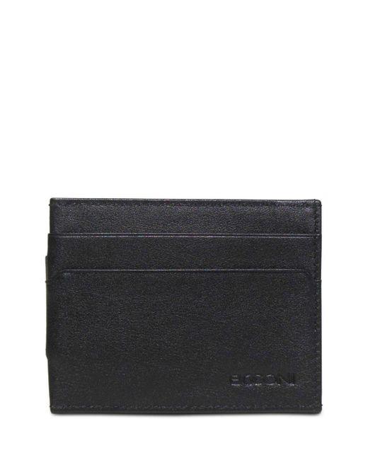 Boconi Black Grant Leather Money Clip Card Case for men