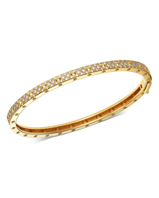 Roberto Coin - Metallic 18k Yellow Gold Symphony Pois Moi Diamond Hinged Bangle Bracelet - Lyst