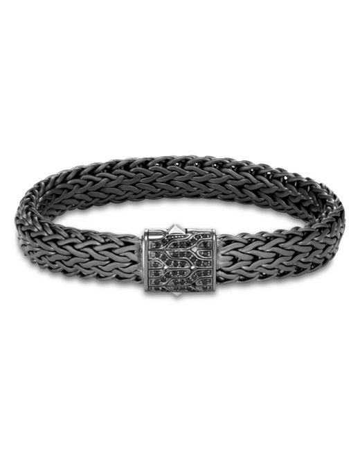 John Hardy - Metallic Men's Blackened Sterling Silver Classic Chain Large Flat Link Bracelet With Black Sapphire for Men - Lyst