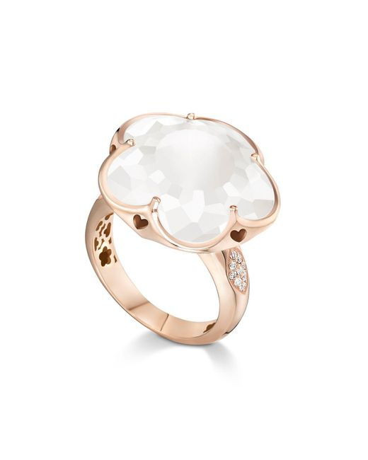 Pasquale Bruni - Multicolor 18k Rose Gold Floral Milky Quartz Ring With Diamonds - Lyst