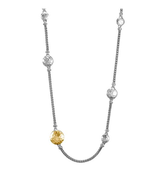 John Hardy | Metallic Sterling Silver And 18k Gold Palu Station Sautoir Necklace, 36"