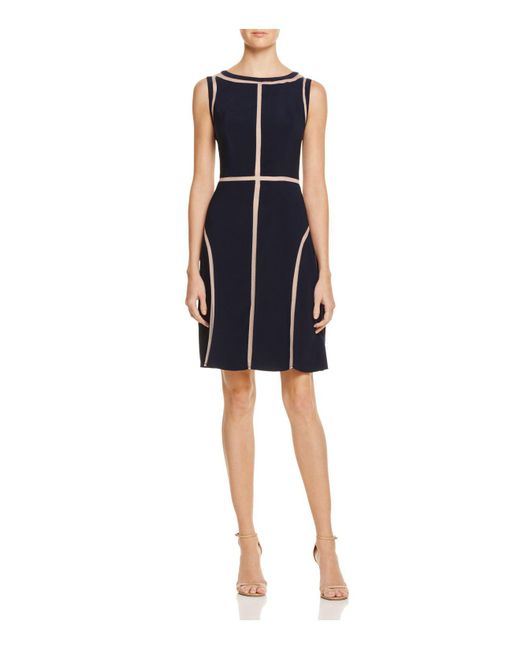 Adrianna Papell | Blue Illusion-inset Dress | Lyst