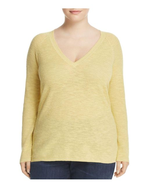 Eileen Fisher | Yellow V-neck Sweater | Lyst