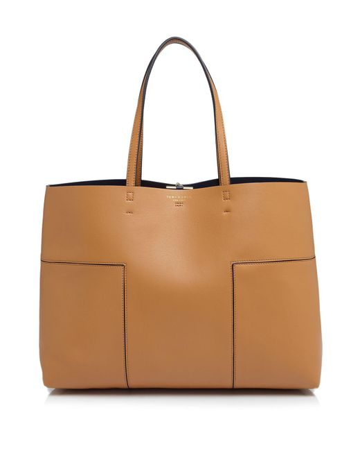 Tory Burch | Brown Block-t Leather Tote | Lyst
