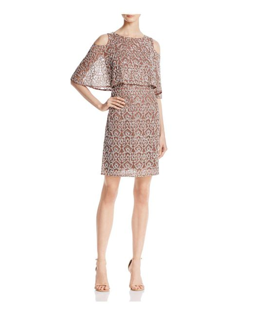Aidan Mattox   Multicolor Tiered Embellished Cold-shoulder Dress   Lyst