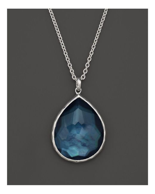 "Ippolita | Blue Sterling Silver Wonderland Large Teardrop Pendant Necklace In Indigo, 16"" | Lyst"