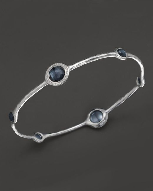 Ippolita | Multicolor Stella Bangle In Hematite Doublet With Diamonds In Sterling Silver | Lyst