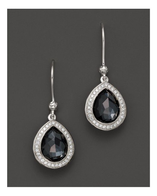 Ippolita | Multicolor Stella Teardrop Earrings In Hematite Doublet With Diamonds In Sterling Silver | Lyst