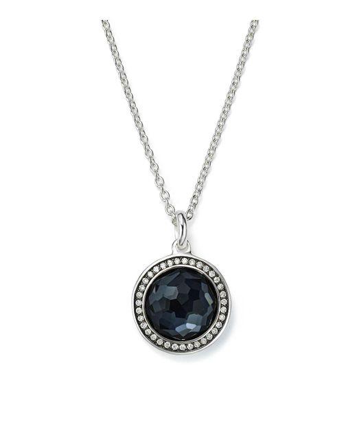 "Ippolita | Metallic Stella Lollipop Pendant Necklace In Hematite Doublet With Diamonds In Sterling Silver, 16"" | Lyst"