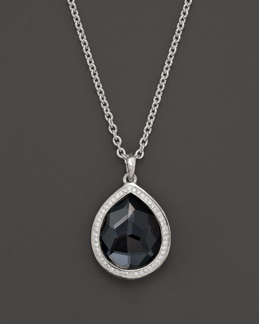 Ippolita | Metallic Stella Large Teardrop Pendant Necklace In Hematite Doublet With Diamonds In Sterling Silver, 16"