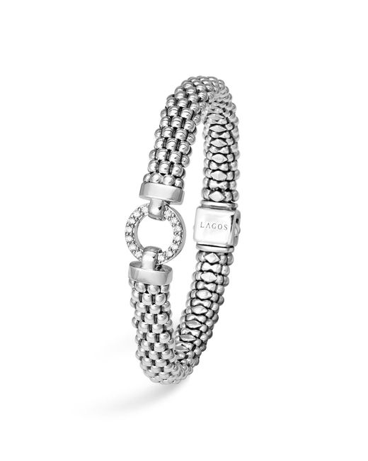 Lagos | White Sterling Silver Enso Rope Bracelet With Diamonds | Lyst