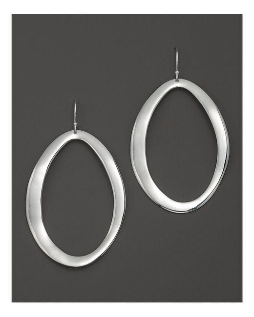 Ippolita | Metallic Sterling Silver Scultura Large Wavy Oval Earrings | Lyst