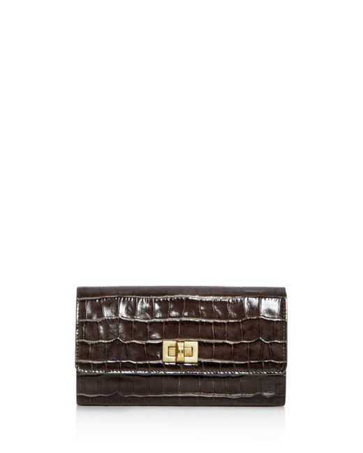 Max Mara - Gray Small Croc Embossed Leather Continental Wallet - Lyst