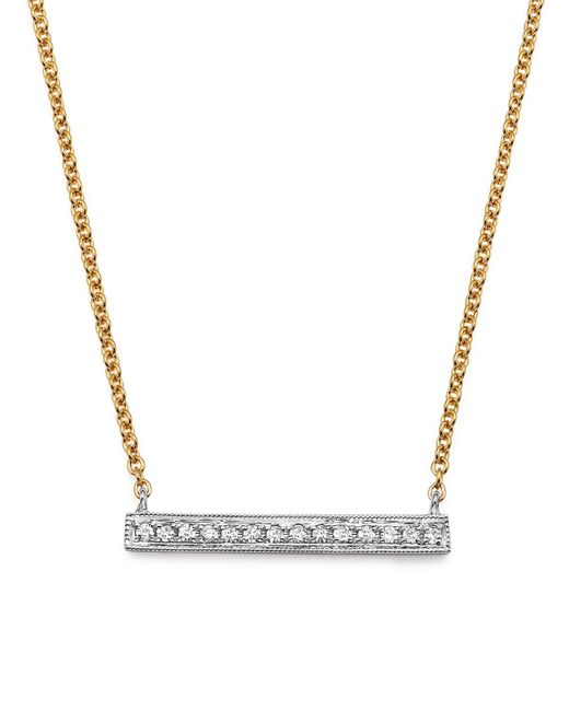 Dana Rebecca | 14k White & Yellow Gold Sylvie Rose Medium Bar Necklace With Diamonds | Lyst